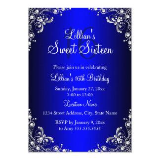 Royal Blue Sweet 16 Silver Pearl Damask Card