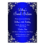Royal Blue Sweet 16 Silver Pearl Damask 5x7 Paper Invitation Card
