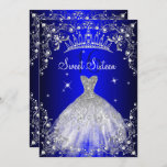 """Royal Blue Sweet 16 Silver Pearl Dress party Invitation<br><div class=""""desc"""">Tiara Royal Blue Sweet 16 Birthday Invitation. Elegant pearl dress design. Please note: All flat images,  They do not have real jewels!</div>"""