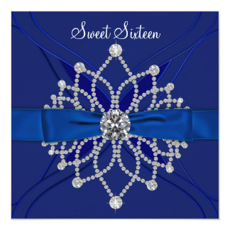 Royal Blue Sweet Sixteen Birthday Party Card
