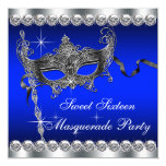 "Royal Blue Sweet Sixteen Masquerade Party 5.25"" Square Invitation Card"