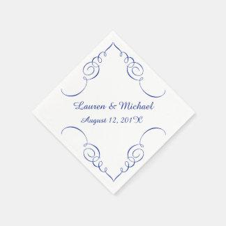 Royal Blue Swirl Border Personalized Wedding Napkin