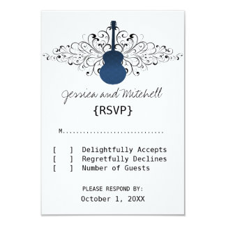 Royal Blue Swirls Guitar Response Card