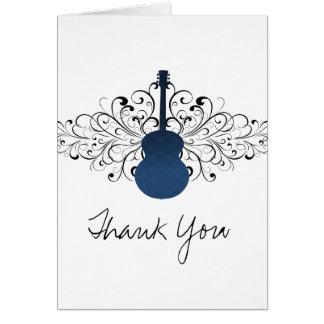 Royal Blue Swirls Guitar Thank You Card