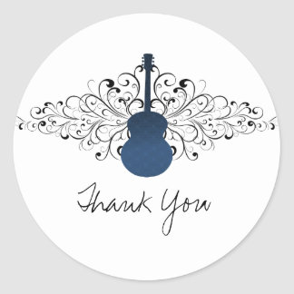 Royal Blue Swirls Guitar Thank You Stickers