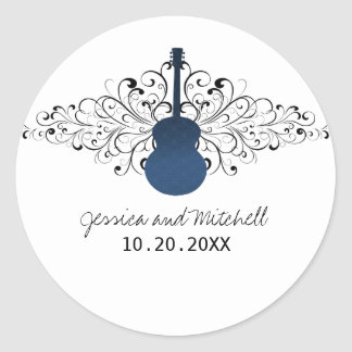Royal Blue Swirls Guitar Wedding Stickers
