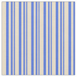 [ Thumbnail: Royal Blue & Tan Colored Lined/Striped Pattern Fabric ]
