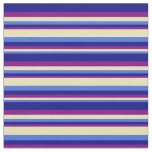 [ Thumbnail: Royal Blue, Tan, Purple, and Blue Stripes Pattern Fabric ]