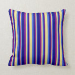 [ Thumbnail: Royal Blue, Tan, Purple, and Blue Stripes Pattern Throw Pillow ]