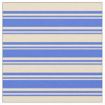 [ Thumbnail: Royal Blue & Tan Striped Pattern Fabric ]