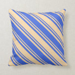 [ Thumbnail: Royal Blue & Tan Striped Pattern Throw Pillow ]