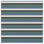 [ Thumbnail: Royal Blue, Tan, White, Black, and Dark Slate Gray Fabric ]