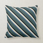 [ Thumbnail: Royal Blue, Tan, White, Black, and Dark Slate Gray Throw Pillow ]