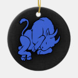 Royal Blue Taurus Double-Sided Ceramic Round Christmas Ornament