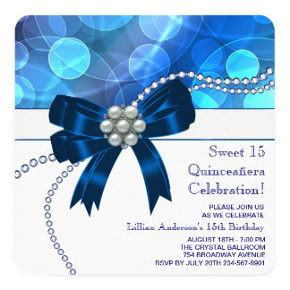 Royal Blue Teal Blue Birthday Party 5.25x5.25 Square Paper Invitation Card