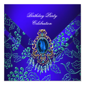 Royal Blue Teal Damask Floral Birthday Party 5.25x5.25 Square Paper Invitation Card