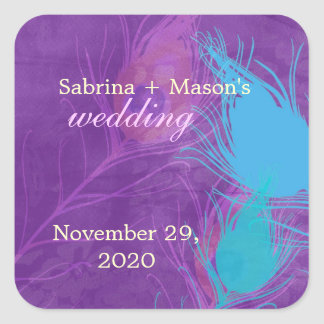 Royal Blue Teal Purple Peacock Wedding Stickers