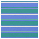 [ Thumbnail: Royal Blue, Teal & White Lines/Stripes Pattern Fabric ]
