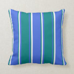 [ Thumbnail: Royal Blue, Teal & White Lines/Stripes Pattern Throw Pillow ]