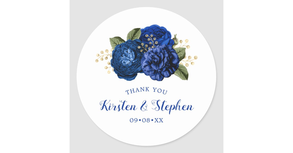 Royal Blue Thank You Wedding Bridal Shower Favor Classic Round Sticker Zazzle Com