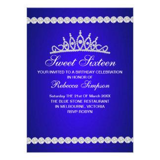 Royal Blue Tiara Sweet Sixteen Birthday Invitation