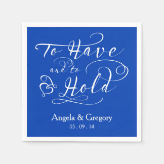 Royal Blue To Have To Hold Personalized Wedding Napkin
