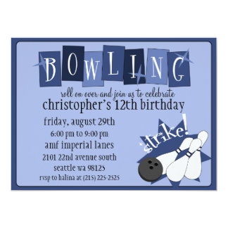 Royal Blue Totally Retro Bowling Birthday Party 6.5x8.75 Paper Invitation Card