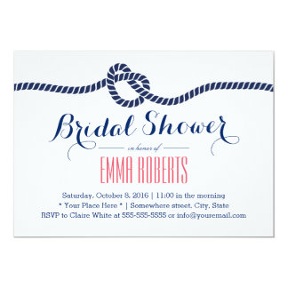 Royal Blue Tying the Knot Bridal Shower Card