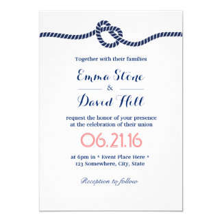Royal Blue Tying the Knot Nautical Wedding Card
