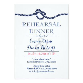 Royal Blue Tying the Knot Rehearsal Dinner Card