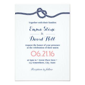 Royal Blue Tying the Knot Wedding Invitations