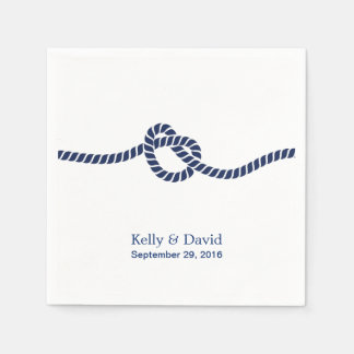 Royal Blue Tying the Knot Wedding Napkin