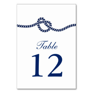 Royal Blue Tying the Knot Wedding Table Numbers Card