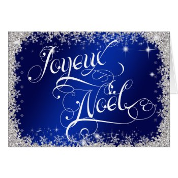 Royal Blue Typography French Joyeux Noël Card