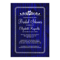 Royal Blue Vintage Barn Wood Bridal Shower Invites