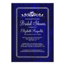 Royal Blue Vintage Barn Wood Bridal Shower Invites Custom Invites