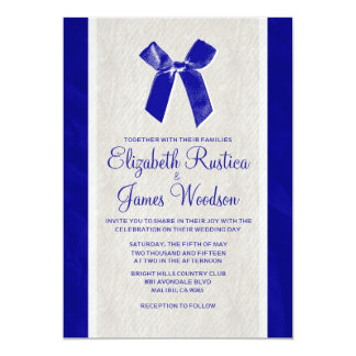 Royal Blue Vintage Bow & Linen Wedding Invitations
