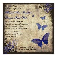 Royal Blue Vintage Butterfly Wedding Card (<em>$2.31</em>)