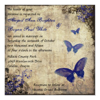 Royal Blue Vintage Butterfly Wedding Invite 2 (<em>$2.31</em>)