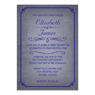 Royal Blue Vintage Chalkboard Wedding Invitations