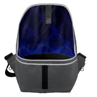 Royal Blue Vintage Damask  Pattern Grunge Texture Courier Bag