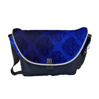 Royal Blue Vintage Damask  Pattern Grunge Texture Messenger Bag