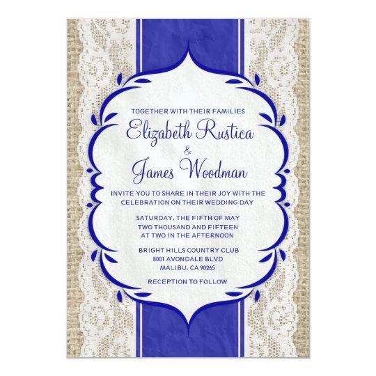 Royal Blue Vintage Linen Burlap Wedding Invitation
