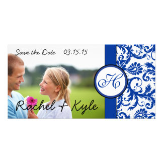 Royal Blue Vintage Modern Damask Save the Date Card