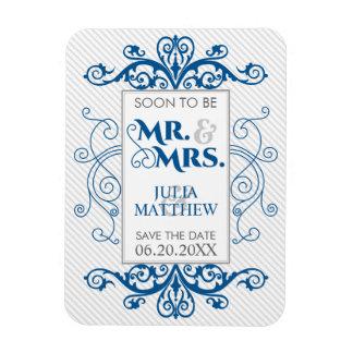 Royal Blue Vintage Swirls Save The Date Wedding Rectangular Photo Magnet
