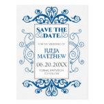 Royal Blue Vintage Swirls Wedding Save The Date Postcard