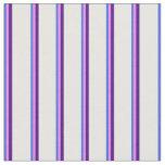 [ Thumbnail: Royal Blue, Violet, Indigo & White Stripes Fabric ]