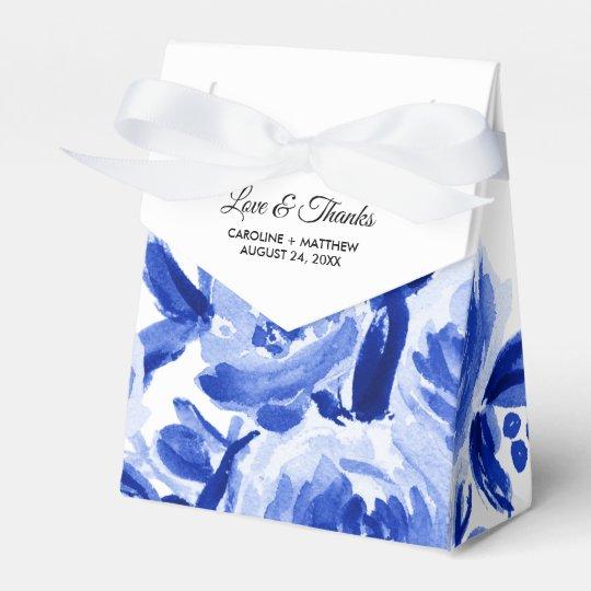 Royal Blue Watercolor Fl Wedding Favor Bo