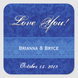 Royal Blue Wedding Bride Groom Damask Square Sticker
