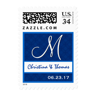 Royal Blue Wedding Damask Monogram M A004 Postage